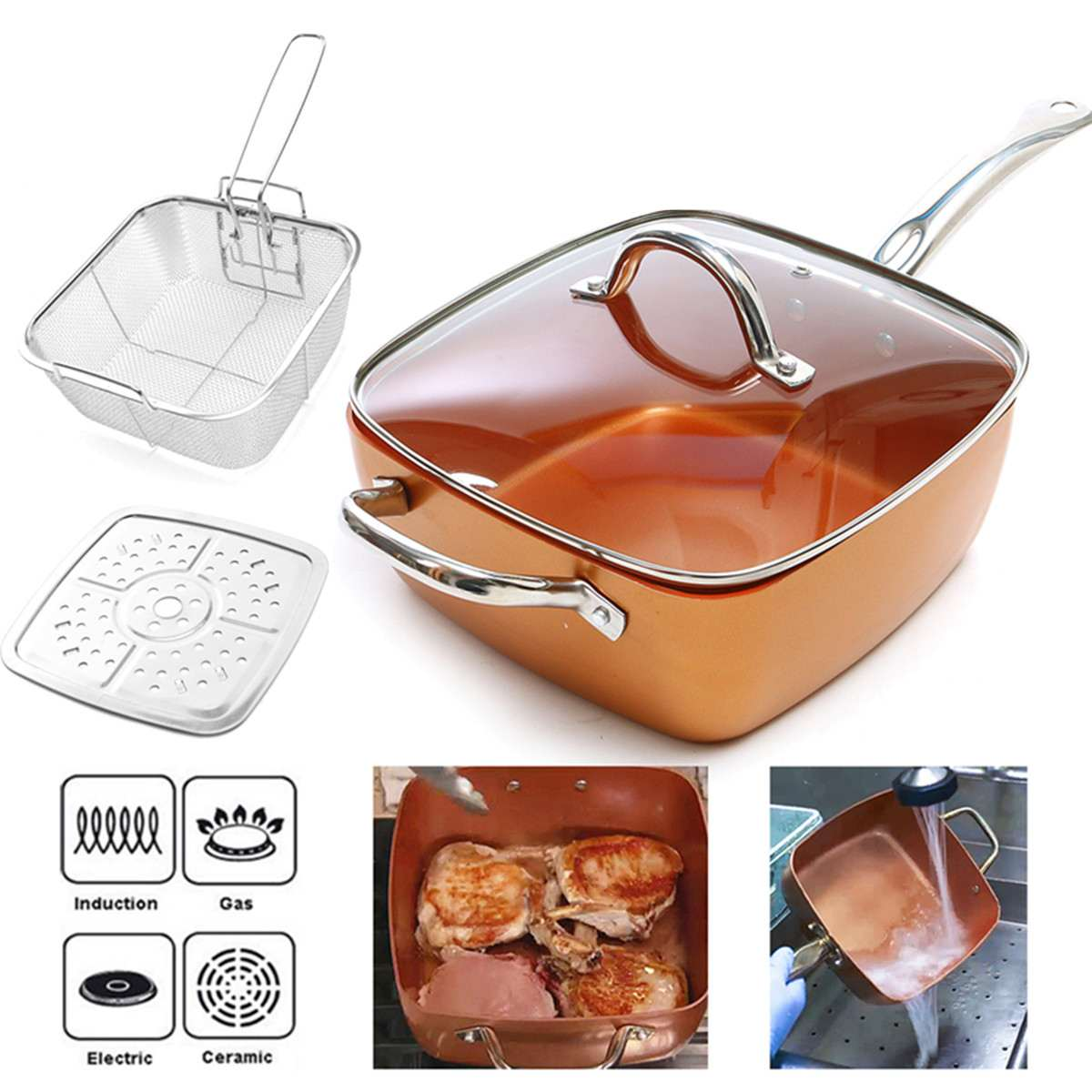 Ceramic Non-Stick Pan Copper Square Pan Induction Chef Glass Lid Fry Basket Steam Rack 4 Piece Set 9.5 Inches Used In Induction