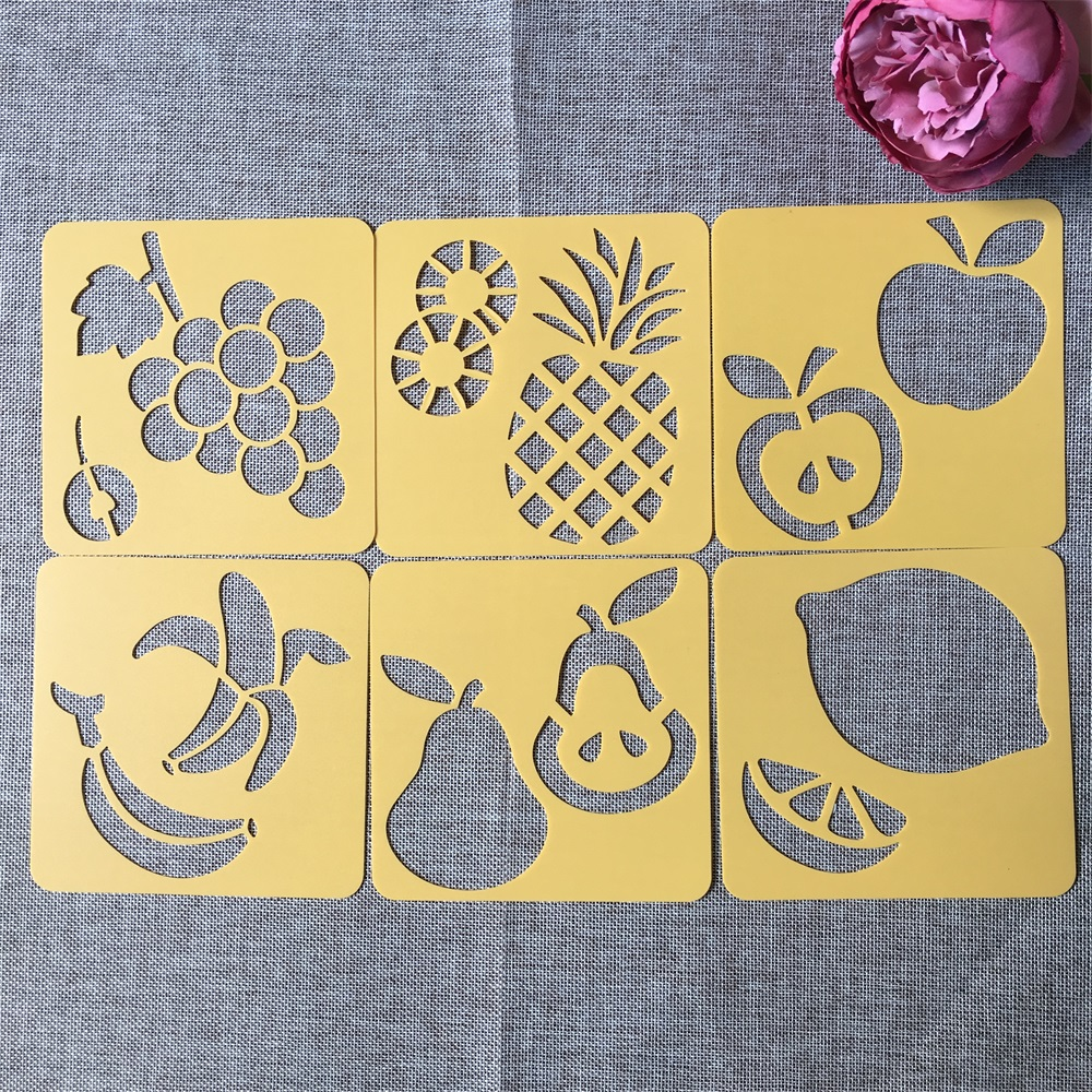 6Pcs/Set 14*14cm Fruit DIY Layering Stencils Wall Painting Scrapbook Coloring Embossing Album Decorative Template