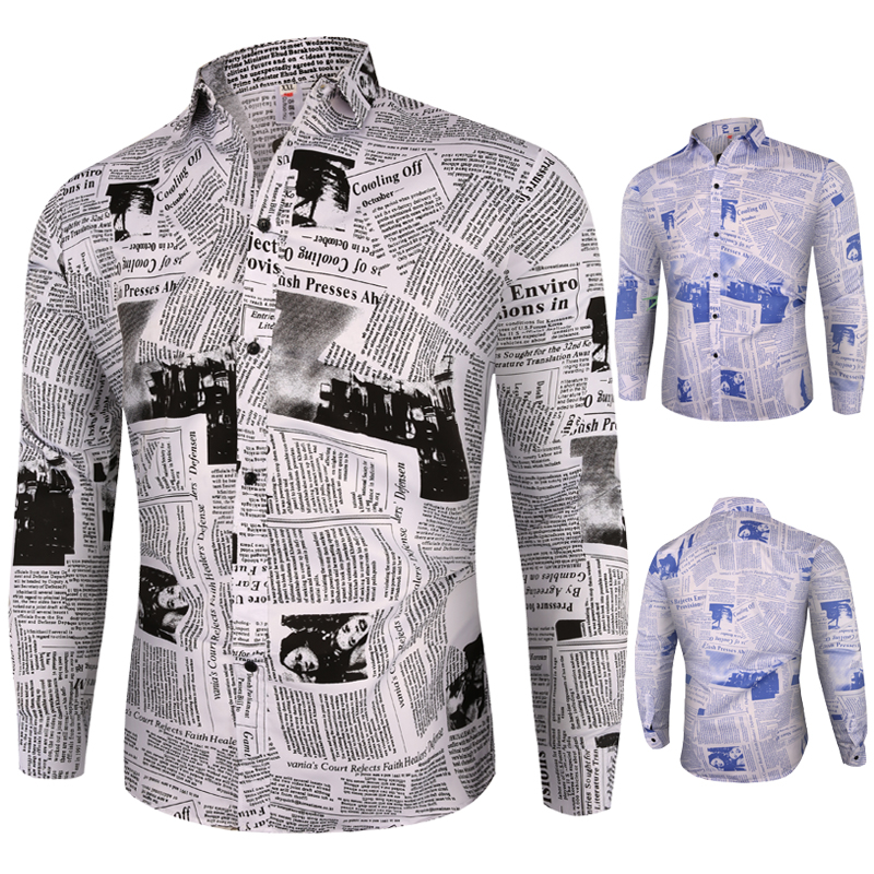 Men Shirt 2020 New Crop Of Cut-out Newspaper Printed Hip-hop Men's Long-sleeved Shirts