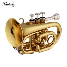 Muslady Mini Pocket Trumpet Bb Flat Brass Material Wind Instrument with Mouthpiece Gloves Cleaning Cloth Carrying Case