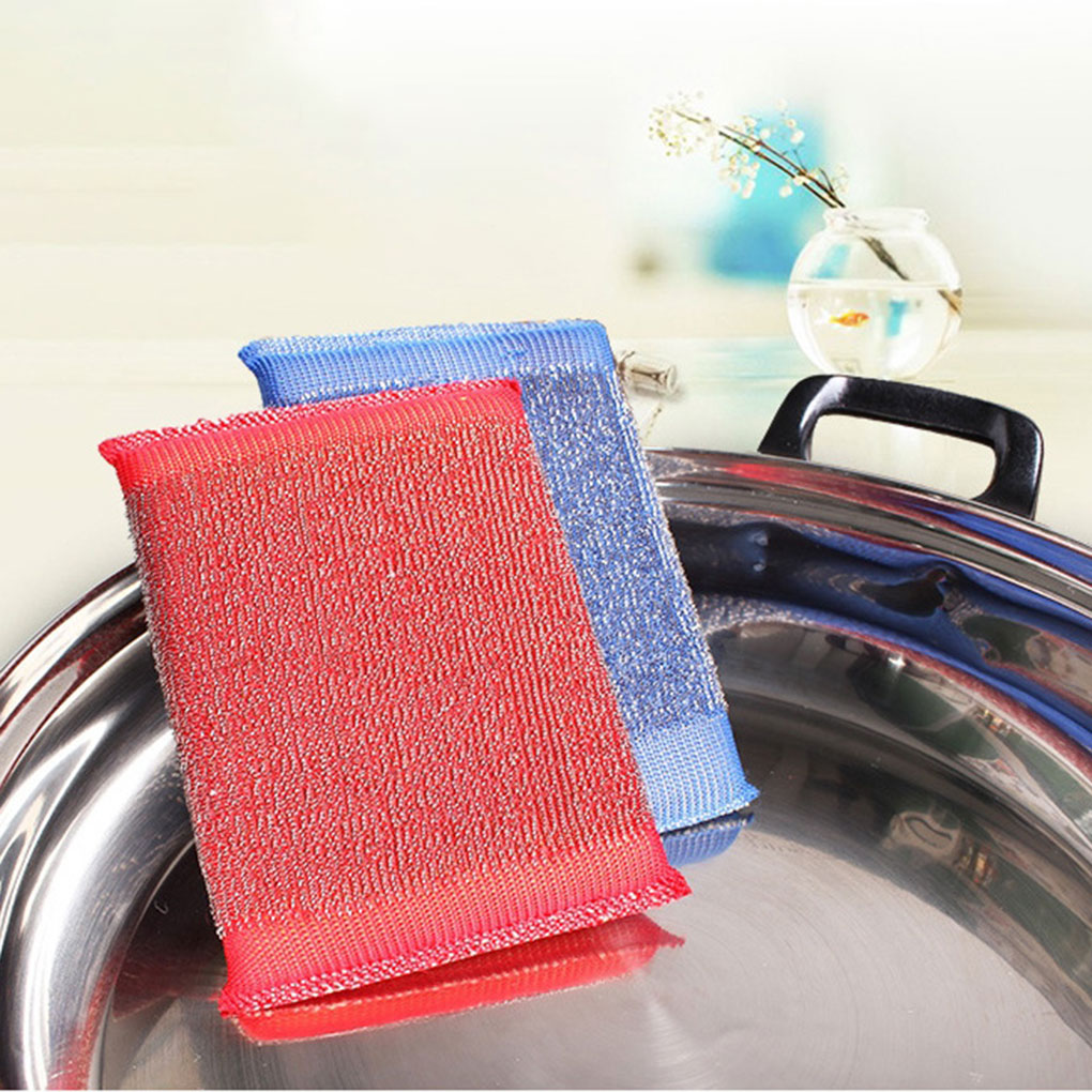 3 Pcs Stainless Steel Sponge Rectangle Cleaner Scrubber Pads Pot Bowl Dish Cloth Cleaning Tool Color Random