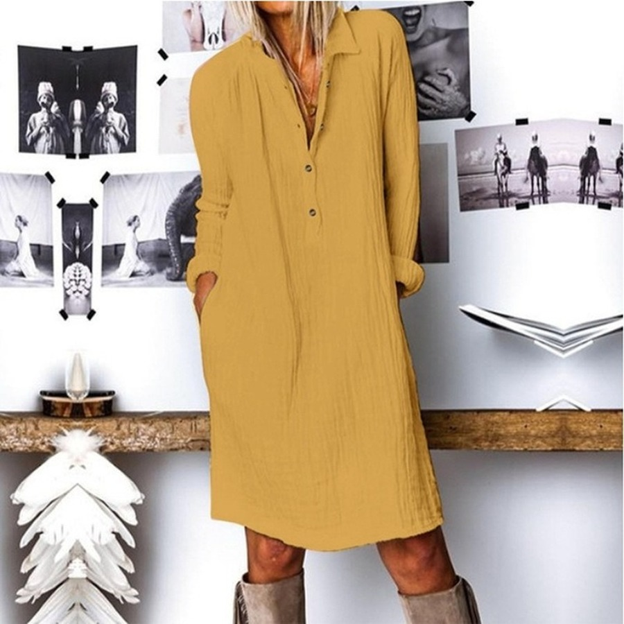 Elegant Fashion Spring Latest A-line Empire Dress Women Long Sleeve Lady Dress Casual Solid Turn-down Collar Cotton and Linen