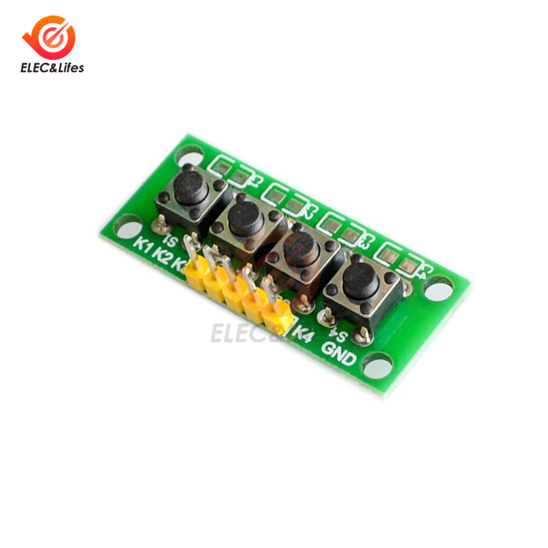 DIY 5-Pin 1x4 4 Independent Key Button Keypad Keyboard Module MCU for Arduino Student Class Design Graduation Project Experiment
