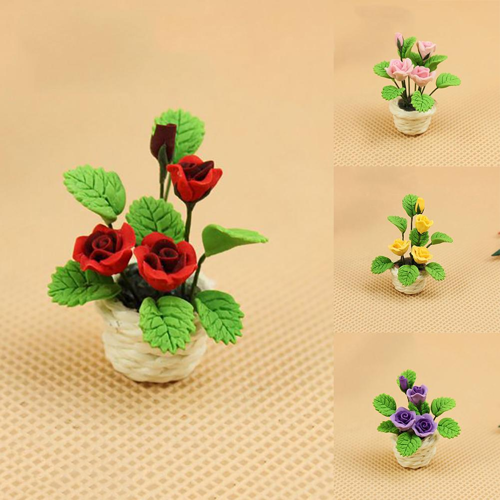 1:12 Miniature Clay Rose Flower With White Pot Dollhouse Garden Plant Accessory