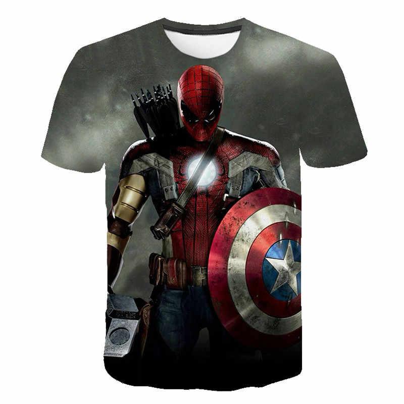 Spiderman kapitan ameryka letnie dziecko koszulki z krótkim rękawem dla dzieci dziewczyna chłopcy T Shirt topy śmieszne fajne wzór wzór odzież