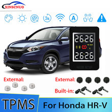Smart Car TPMS Tire Pressure Monitor System For Honda HRV HR-V with 4 sensors Wireless Alarm Systems LCD Display TPMS Monitor joying usb car tpms tire pressure monitor alarm system kit for android dvd stereo multimedia player auto security alarm systems