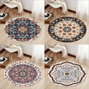 Alfombra redonda de Mandala India Retro Para sala de estar alfombra redonda con estampado nórdico de flores para habitación de niños alfombra de área geométrica grande
