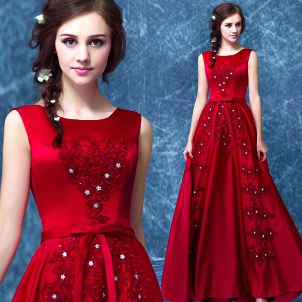 A-line Lace Appliques Beading Red Satin Long Evening Dress 2015 New Arrival Formal Gown Bow Robe De Soiree Vestido De Festa
