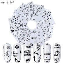 Yeni 12 adet Nail Art Sticker siyah ve beyaz alfabe Patte su Transfer jel tırnak tırnaklar ayak tırnaklarını DIY dekorasyon araçları