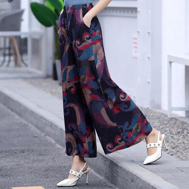 Женские широкие брюки с принтом в стиле ретро, летние свободные брюки с высокой талией и эластичной резинкой на талии для пляжного отдыха, ...
