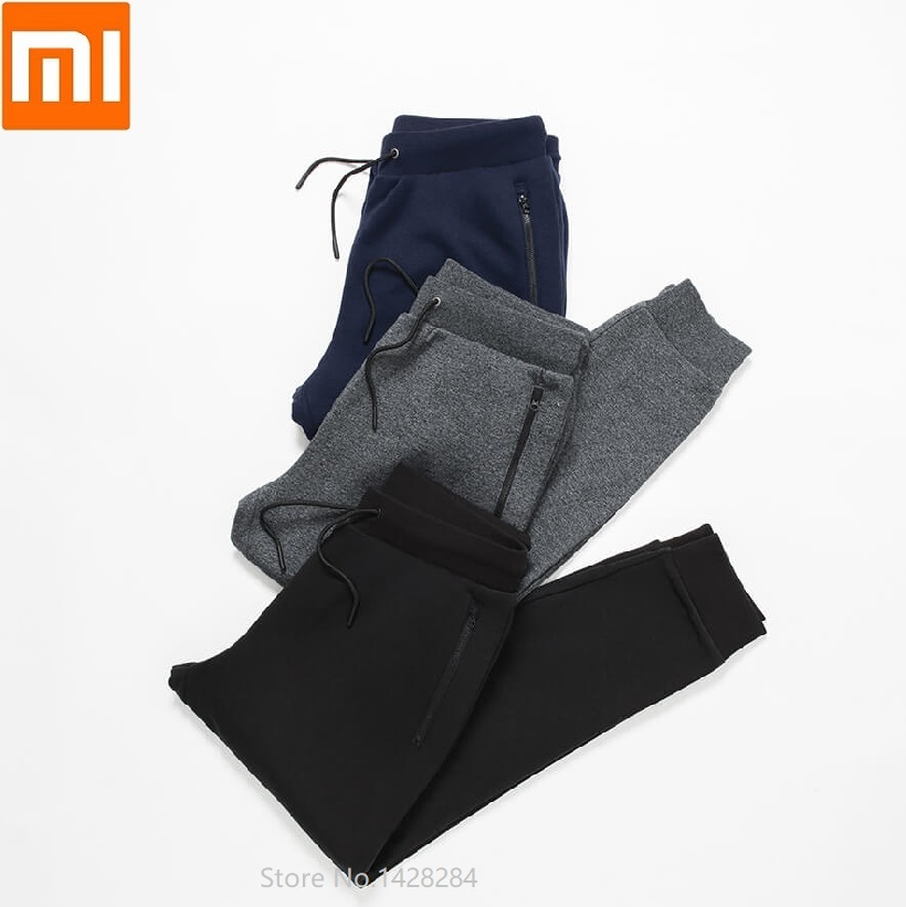 Xiaomi Autumn Men Fleece Pants Soft Comfortable Leisure Sports Pants Male Loose Cotton Trousers High Elastic Fitness Sweatpants