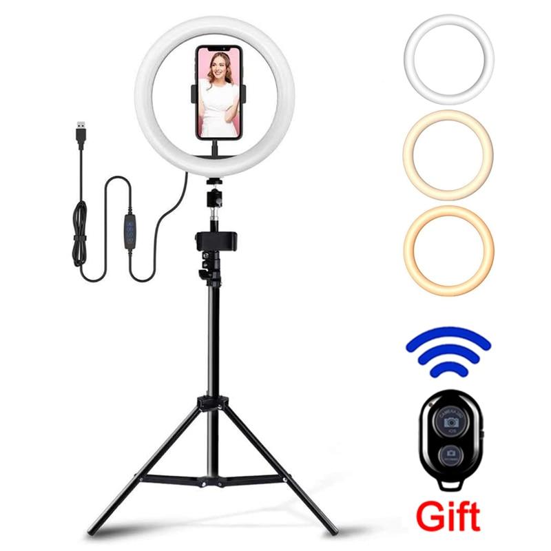 Anel de luz led pode ser escurecido luz selfie luzes de vídeo usb anel lâmpada com tripé suporte borda luz para fazer para tiktok youtube vk ao vivo