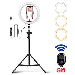 Светодиодный кольцевой светильник с регулируемой яркостью светильник селфи видео светильник s USB кольцевая лампа с штатив-Трипод стойка об...