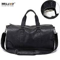 Male Leather Travel Bag Large Duffle Independent Shoes Storage Big Fitness Bags Handbag Bag Luggage Shoulder Bag Black XA237WC