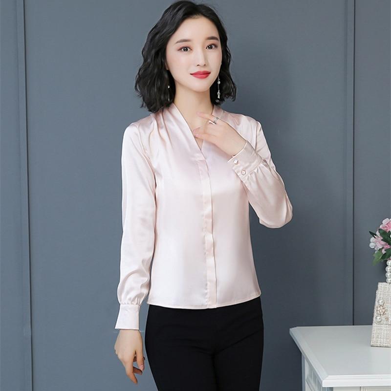 Korean Fashion Silk Women Blouses Solid Long Sleeve Pink Women Shirts Plus Size XXXL/4XL Blusas Femininas Elegante Ladies Tops