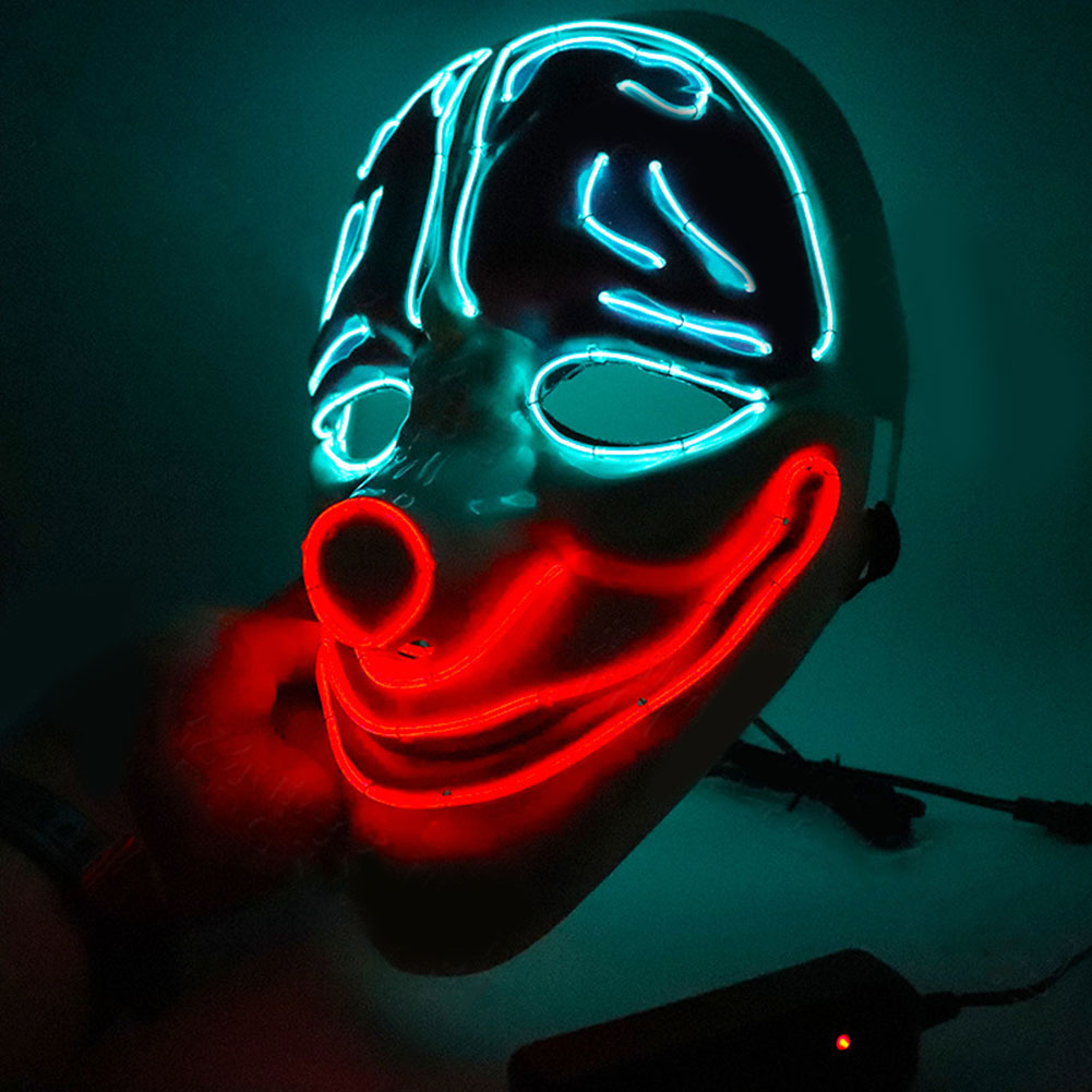 Hot Selling Halloween Mask LED Light Up Scary Clown Wire Mask For Festival Party Cosplay Costume Masquerade LBV