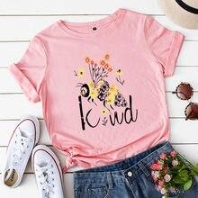 Worden Soort Gedrukt Leuke Bee Afdrukken 100% Katoen Korte Mouwen Vrouwen T-shirts Zachte Vrouwelijke T-shirt Voor Vrouwen Plus size Femme Top