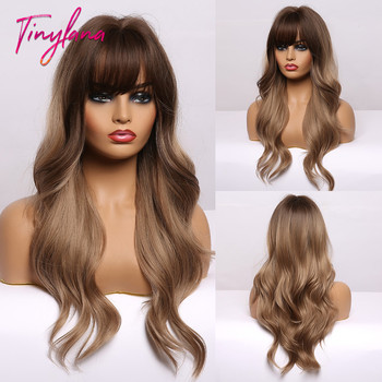 TINY LANA Long Ombre Black Brown Synthetic Wigs with Bangs Natural Wave  Hairstyle for Women Cosplay Party Heat Resistant Fiber