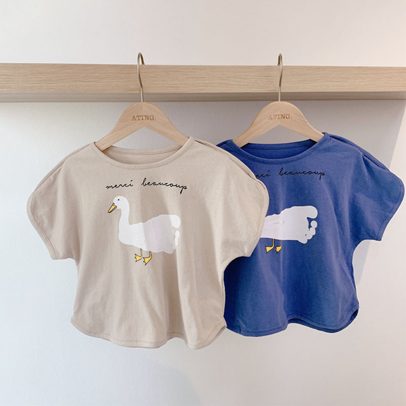 New Cotton Kids T-shirt Boys Children Summer Short Sleeve T Shirts For Girls Clothes Cute Duck Print Baby T Shirt Toddler Tops image
