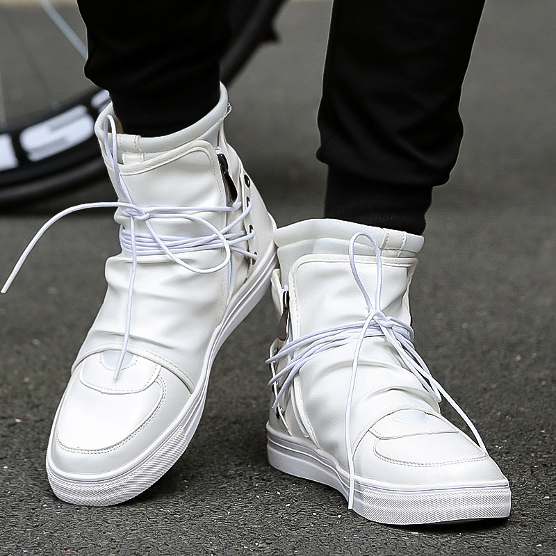 Shoes Men Leather White Black High Top Brands Ankle Work Dress Male Low Heel Oxfords Boots Autumn Boots Men Shoes 2019