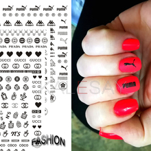 цена на 3D Nail Art Decals Black White Stickers For Manicure Brand Nail Sticker Self-adhesive DIY Decals Gold Nail Art Stickers Decal
