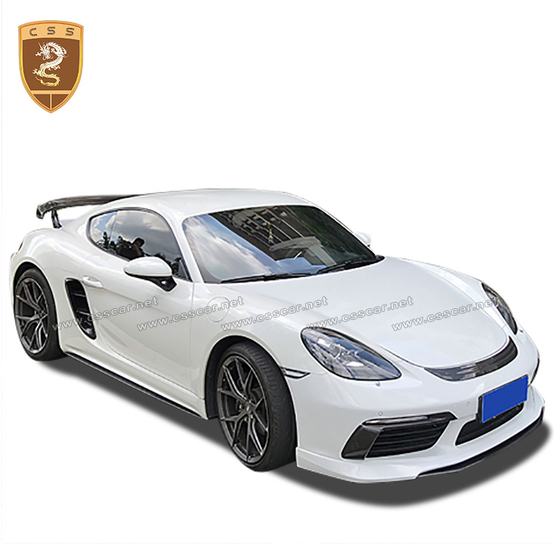 Car Styling Carbon Fiber Bodykits Fit For 17-18 Cayman <font><b>Boxster</b></font> <font><b>718</b></font> Style Body Lip Kit Front Lip Skirts Rear Spats Lip image