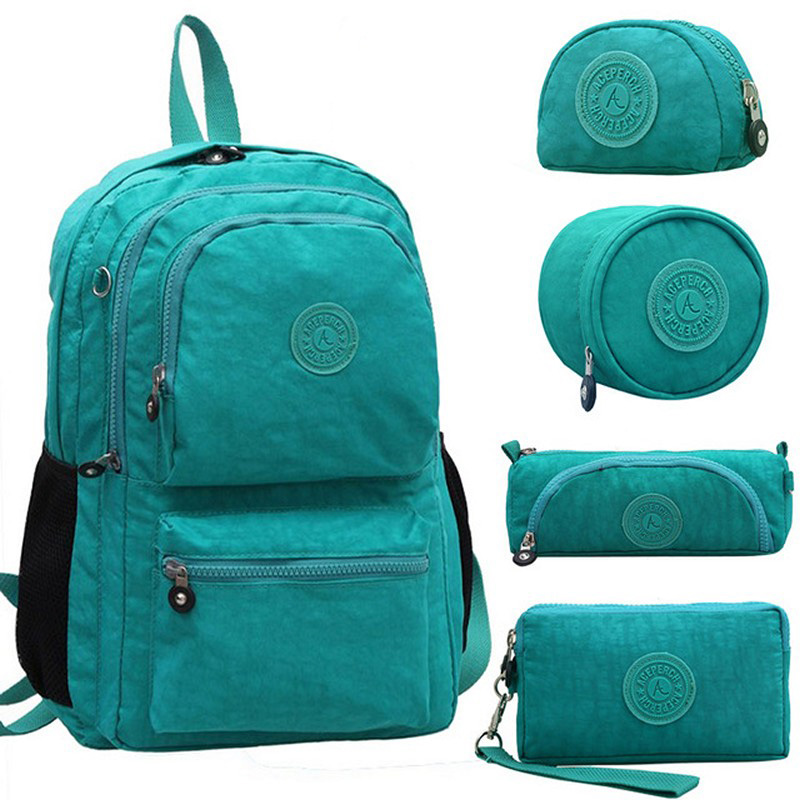 ACEPERCH Casual Original Bolsa School Backpack for Teenage Girl Waterproof Nylon Laptop Mochila Escolar With Keychain title=