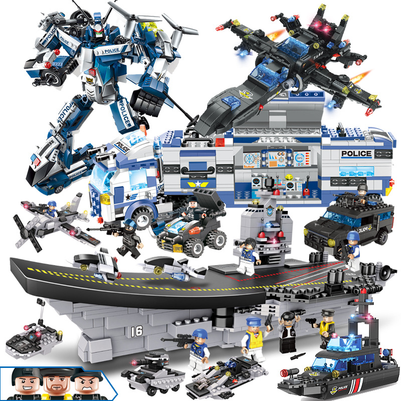 SWAT City Police Station Helicopter Boat Building Blocks Mini Bricks Figures Legoingly Toys For Children Boys Gifts