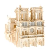 Children 3D Puzzle Toys Notre Dame De Paris World Famous Buildings Toy Model Wooden High Quality Wood Gift For