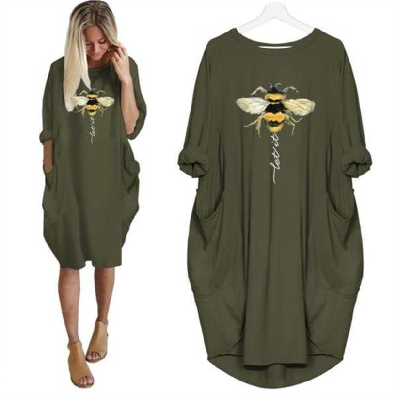 Dropshipping Women Fashion T-Shirt For Women BEE Animal Print Pocket T-Shirt Female Tshirt Women Cute Tops Femme Harajuku Tshirt