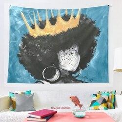 Naturalnie królowa II niebieski gobelin ścienny wiszący astrologia wróżbiarstwo narzuta