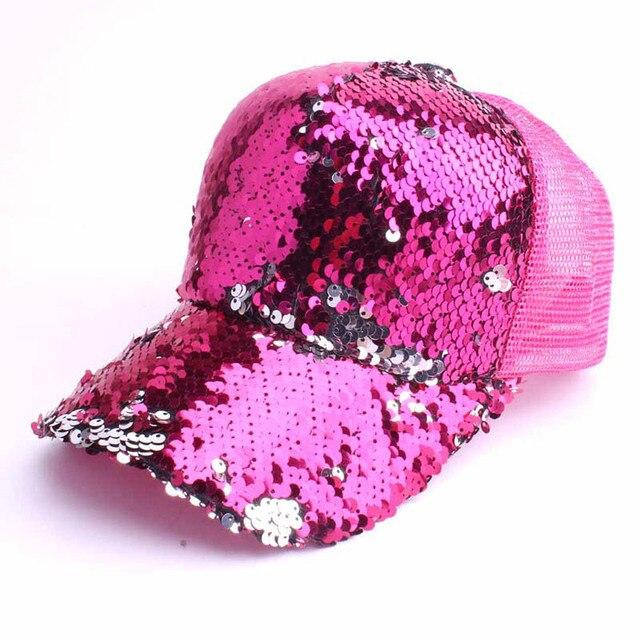 חדש נשים גבירותיי אופנה מקרית שיק בייסבול כובע רשת Bun מוצק נצנצים בייסבול כובע ספורט כובעים