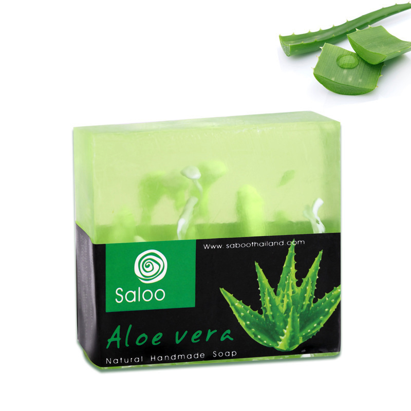 Handmade Aloe Vera Oil Soap Moisturizing Brighten Skin Cleansing Handmade Soap Whitening Skin Fade Spots Natural Aloe Soap 100g