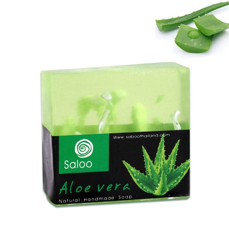 Handmade Aloe Vera Oil Soap Moisturizing Brighten Skin Cleansing Handmade Soap Whitening Skin Fade Spots Natural Aloe Soap 100g