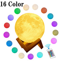 16 Colors Photo DIY 3D Print Moon Lamp Color Change Lunar USB Rechargeable Nightlight Touch/Remote Moonlight