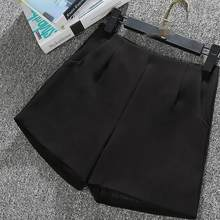 2019 New Summer Vintage Women Shorts Skirts High Waist Vintage Suit Shorts Black White Women Short Pants Ladies Shorts DW115(China)