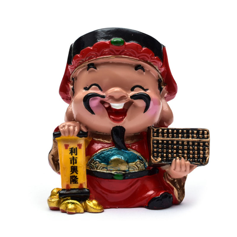 Chinese Traditional God Of Wealth Figurines Ornaments Home Decoration Crafts Five Road Fortune Doll Statues Car Decor Gifts