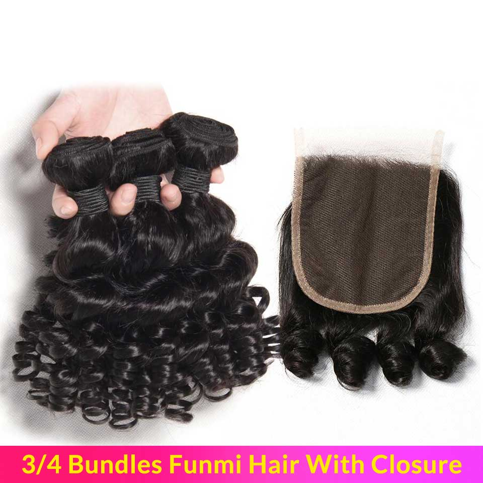 Bouncy Curly Hair With Closure 3 Bundles Double Weft Remy Human Hair Bundles With Closure Malaysian Hair Bundles With Closure