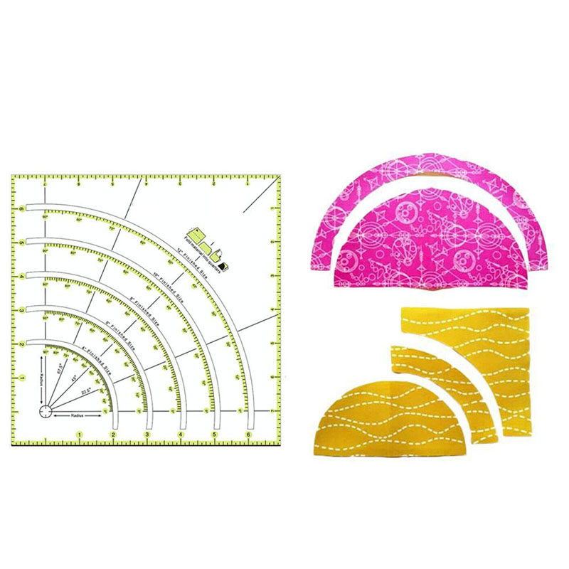 1pc Multifunctional Arcs and Fan Quilt Circle Cutter Ruler Sewing Tool DIY Plastic Ruler Cutting Patork Ruler Sewing Craft Tools