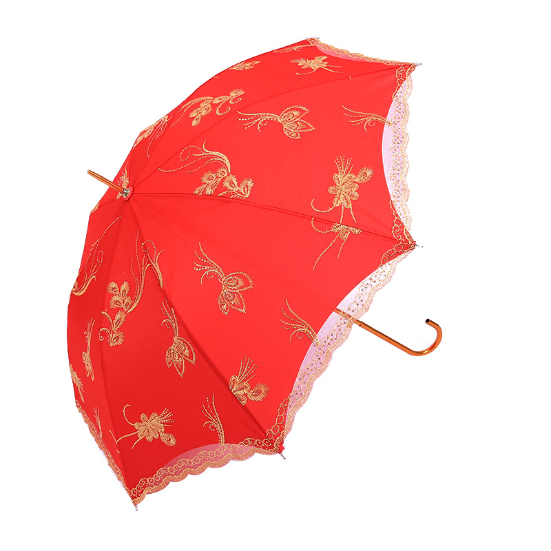 Creative Xin Niang San Embroidered Phoenix Yu Free Red Umbrella Long Umbrella Parasol Wedding Dowry Supplies Manufacturers Whole