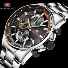Классические кварцевые мужские часы MINI FOCUS, люксовый бренд, 3 циферблата с 6 стрелками и отображением даты, модные спортивные наручные часы с хронографом