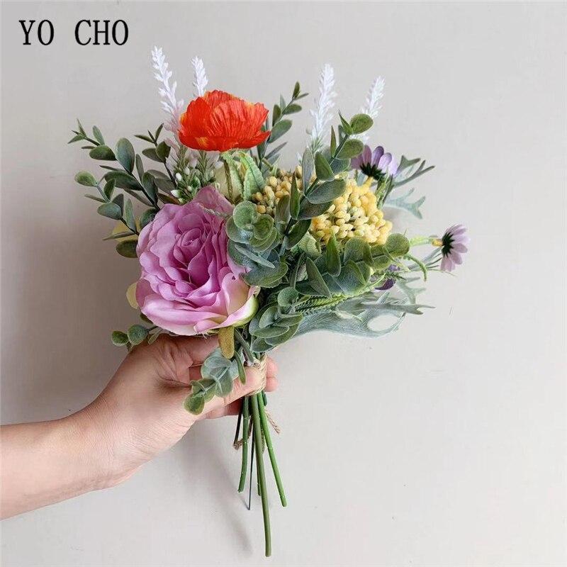YO CHO Bride Wedding Flower Bouquet New Artificial Rose Flower Silk Rose Hydrangea Lavender Orchid Daisy Fruit Wedding Bouquets