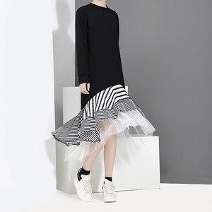 Image 3 - חדש 2020 סתיו ארוך שרוול אישה שחור חצוצרת שמלת טלאים לפרוע אופנתי נמתח גבירותיי חמוד Midi מקרית שמלת חלוק 2048