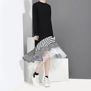 Image 3 - New 2020 Autumn Long Sleeve Woman Black Trumpet Dress Patchwork Ruffle Stylish Stretched Ladies Cute Midi Casual Dress Robe 2048