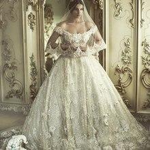 Hot8 Vestido De Noiva Longo Sexy Off Shoulder Bridal gown Robe De Maraige Appliques Luxury Beading