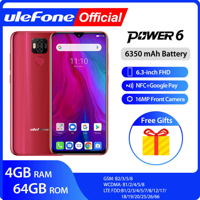 "Ulefone power 6 Smartphone Android 9,0 Helio P35 Octa-core 6350mah 6,3 ""4 GB 64 GB 16MP face ID NFC Global de 4G LTE teléfonos móviles"