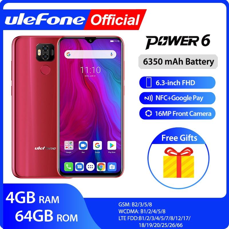 "Ulefone Power 6 Smartphone Android 9,0 Helio P35 Octa-core 6350mah 6,3 ""4 GB 64 GB 16MP identificación facial NFC Global de 4G LTE teléfonos móviles"