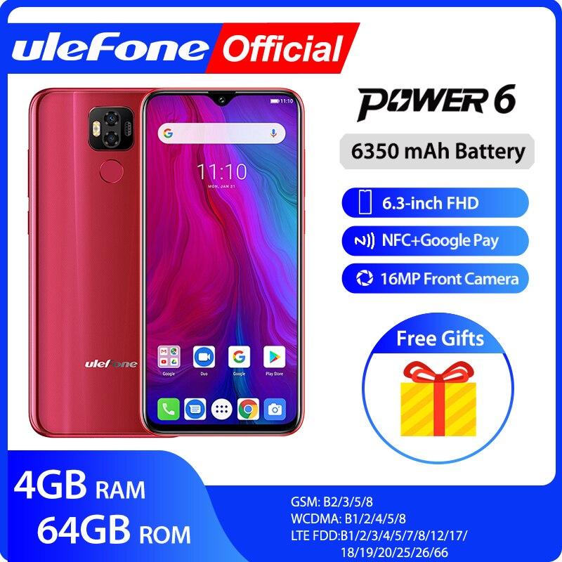 "Ulefone power 6 Smartphone Android 9.0 Helio P35 octa-core 6350mah 6.3 ""4 GB 64 GB 16MP identification faciale NFC 4G LTE téléphones mobiles mondiaux"