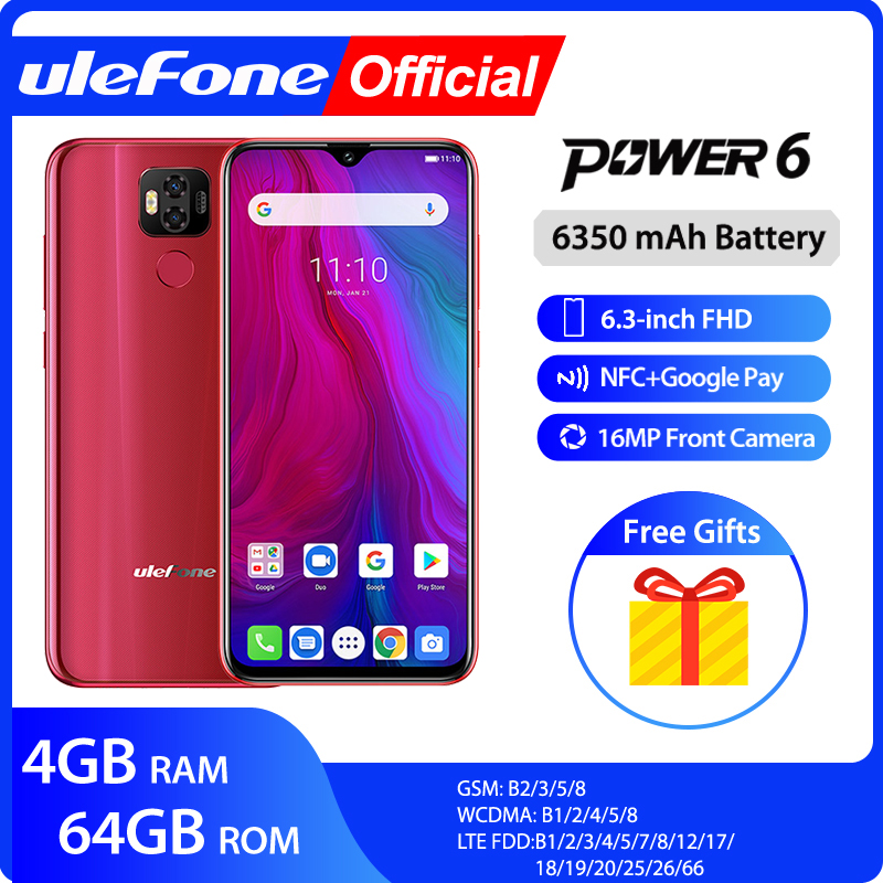 Ulefone power 6 smartphone android 9.0 helio p35 octa-core 6350mah 6.3