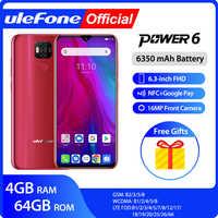 "Ulefone power 6 smartphone android 9.0 helio p35 octa-core 6350mah 6.3 ""4 gb 64 gb 16mp face id nfc 4g lte telefones celulares globais"